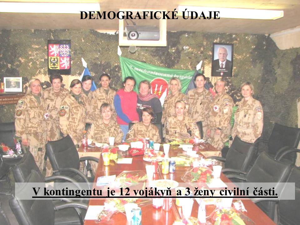 V kontingentu je 12 vojákyň a 3 ženy civilní části.