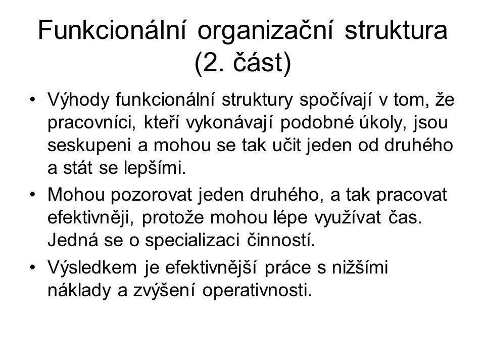 Funkcionální organizační struktura (2. část)
