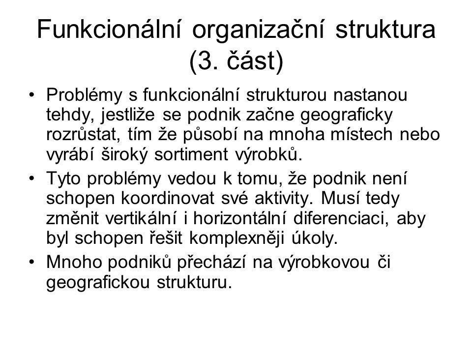 Funkcionální organizační struktura (3. část)