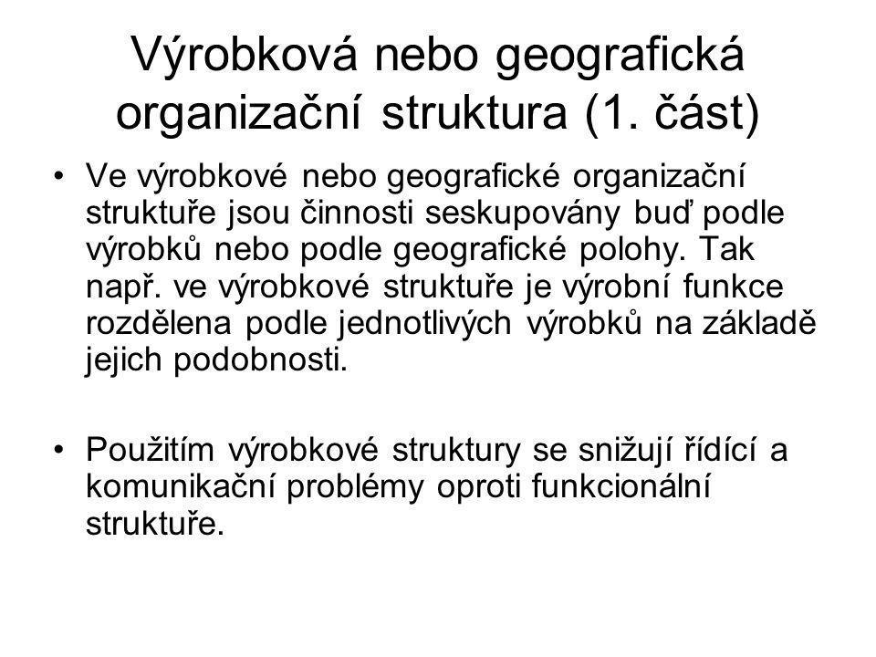 Výrobková nebo geografická organizační struktura (1. část)