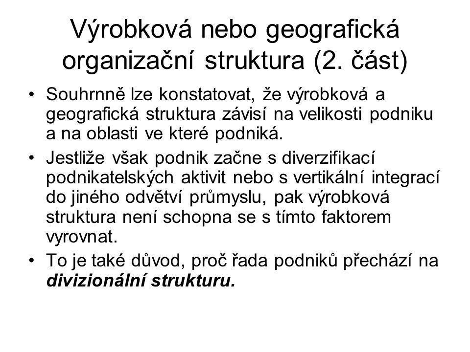 Výrobková nebo geografická organizační struktura (2. část)