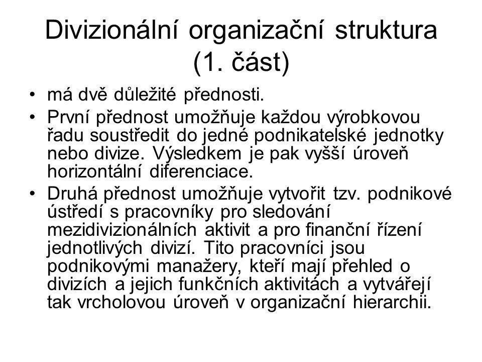Divizionální organizační struktura (1. část)
