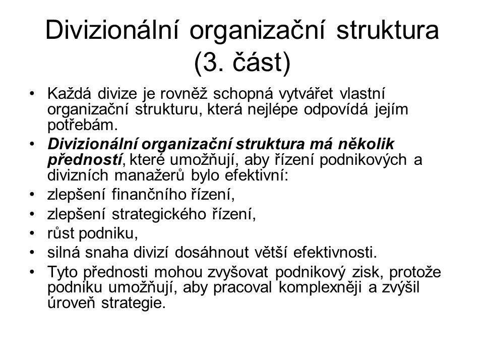 Divizionální organizační struktura (3. část)