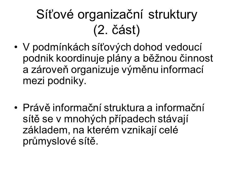 Síťové organizační struktury (2. část)