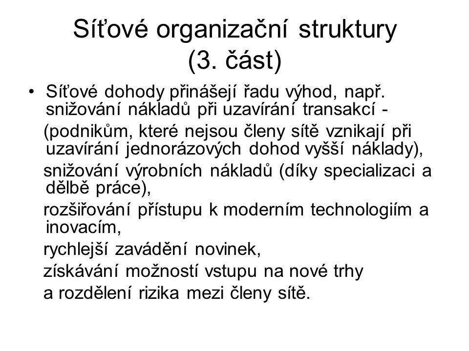 Síťové organizační struktury (3. část)