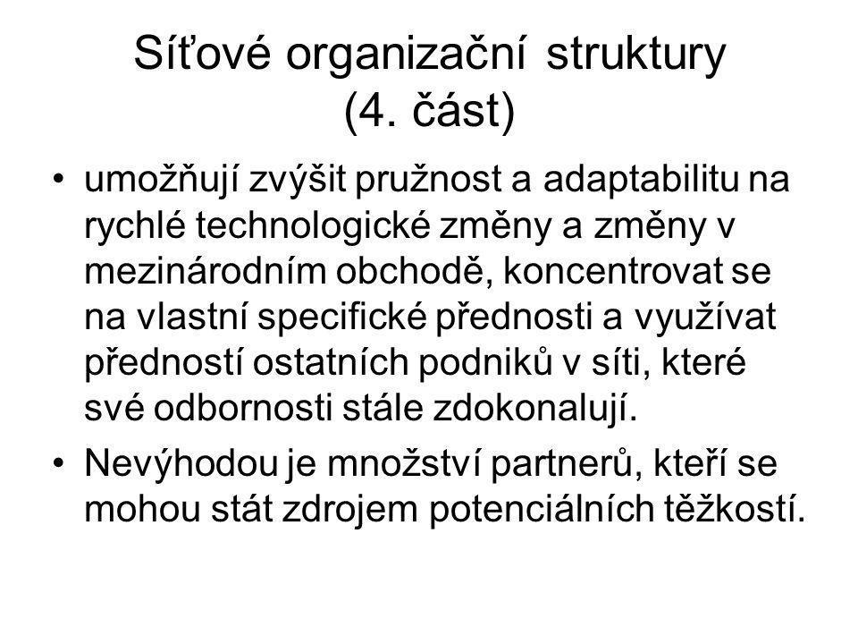 Síťové organizační struktury (4. část)