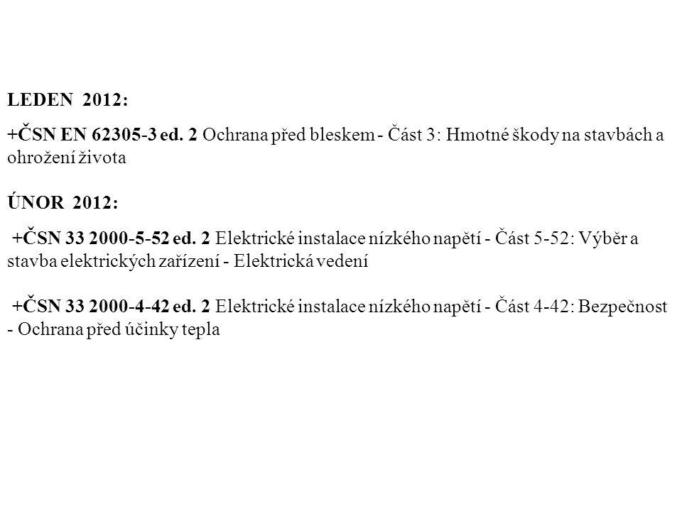 LEDEN 2012: +ČSN EN 62305-3 ed. 2 Ochrana před bleskem - Část 3: Hmotné škody na stavbách a ohrožení života.
