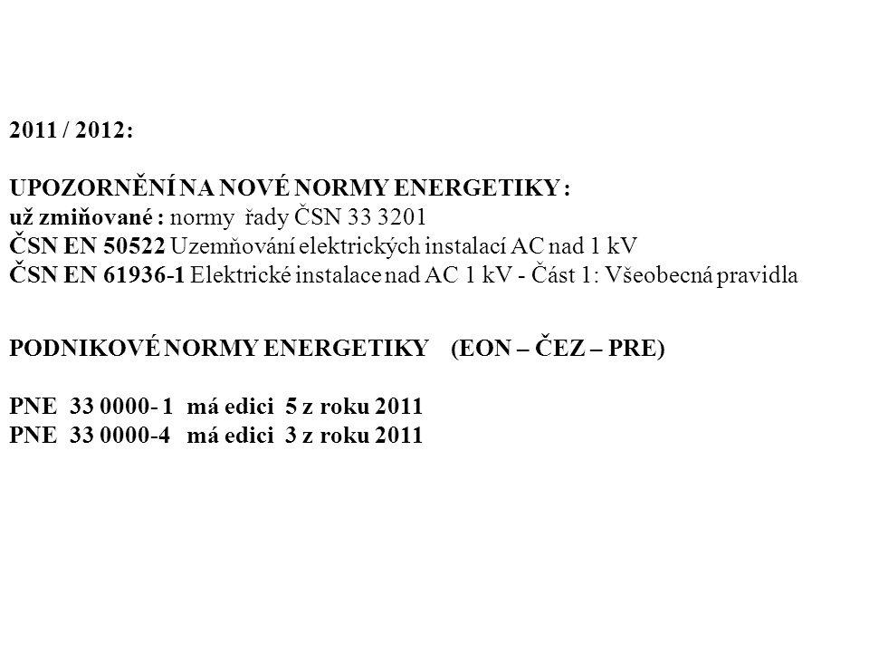 2011 / 2012: UPOZORNĚNÍ NA NOVÉ NORMY ENERGETIKY :