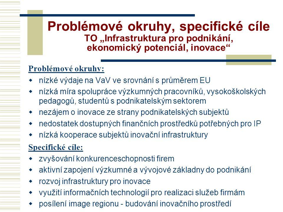 """Problémové okruhy, specifické cíle TO """"Infrastruktura pro podnikání, ekonomický potenciál, inovace"""
