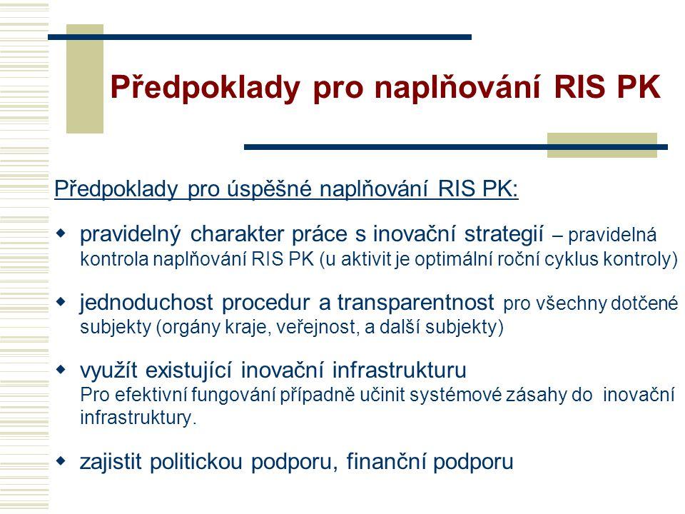 Předpoklady pro naplňování RIS PK