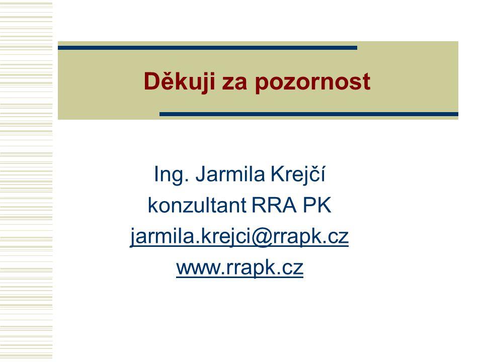 Děkuji za pozornost Ing. Jarmila Krejčí konzultant RRA PK