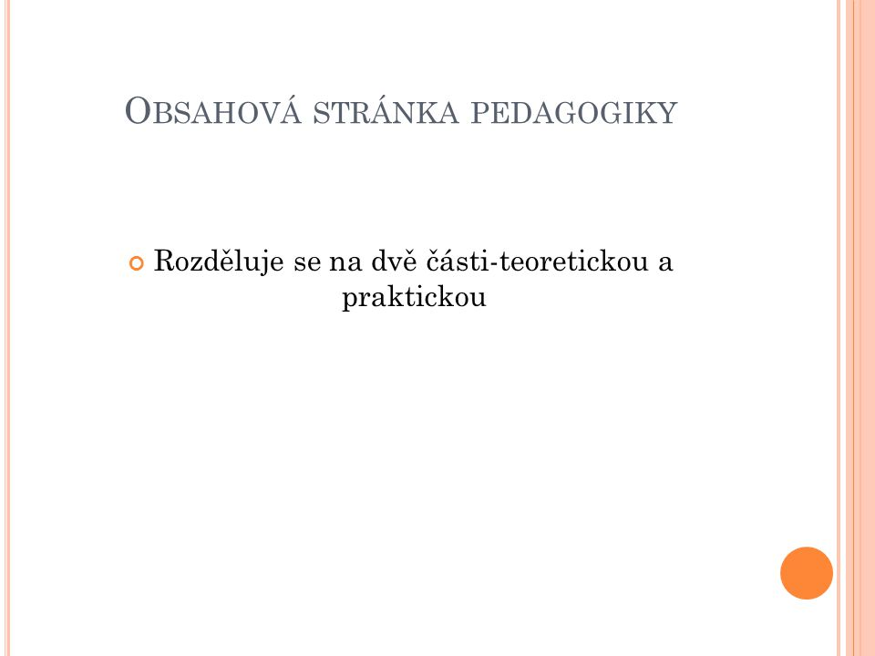 Obsahová stránka pedagogiky