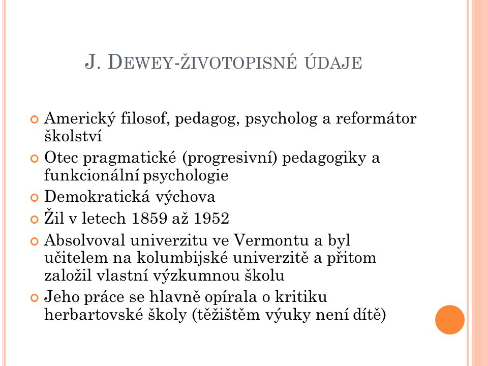 J. Dewey-životopisné údaje
