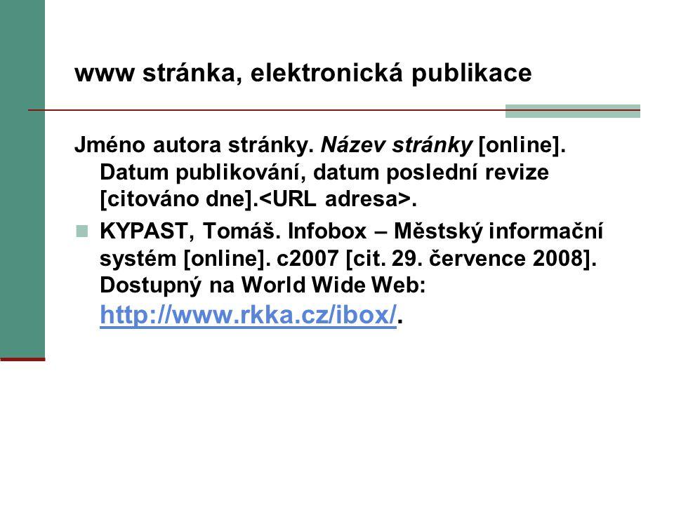 www stránka, elektronická publikace