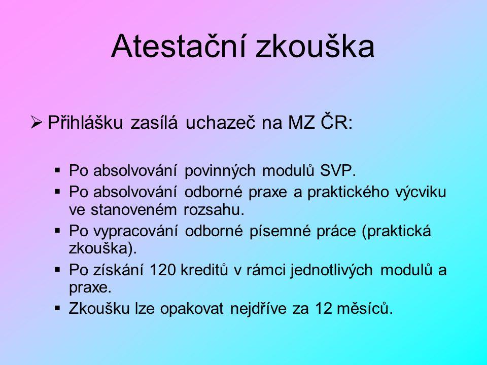 Atestační zkouška Přihlášku zasílá uchazeč na MZ ČR: