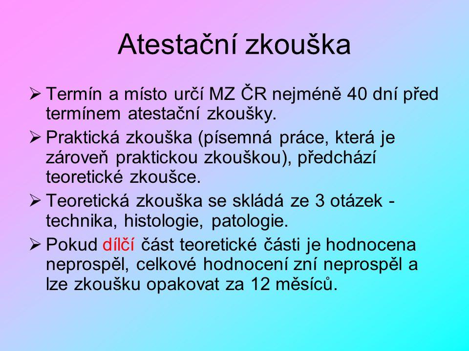 Atestační zkouška Termín a místo určí MZ ČR nejméně 40 dní před termínem atestační zkoušky.