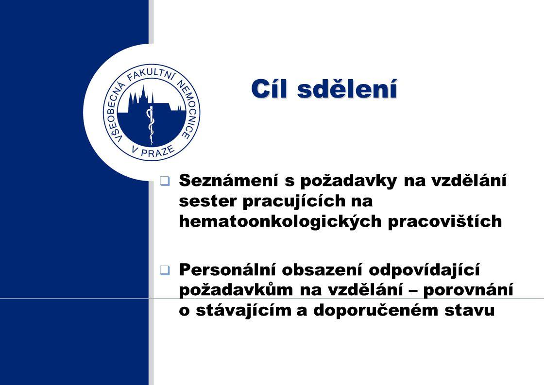 Cíl sdělení Seznámení s požadavky na vzdělání sester pracujících na hematoonkologických pracovištích.
