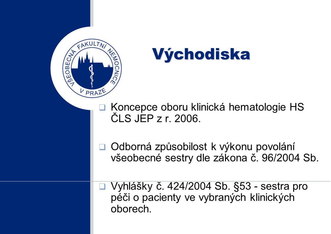 Východiska Koncepce oboru klinická hematologie HS ČLS JEP z r. 2006.