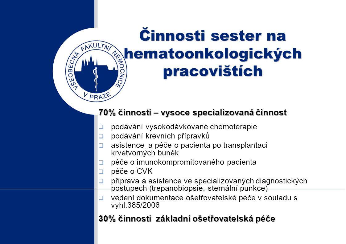 Činnosti sester na hematoonkologických pracovištích