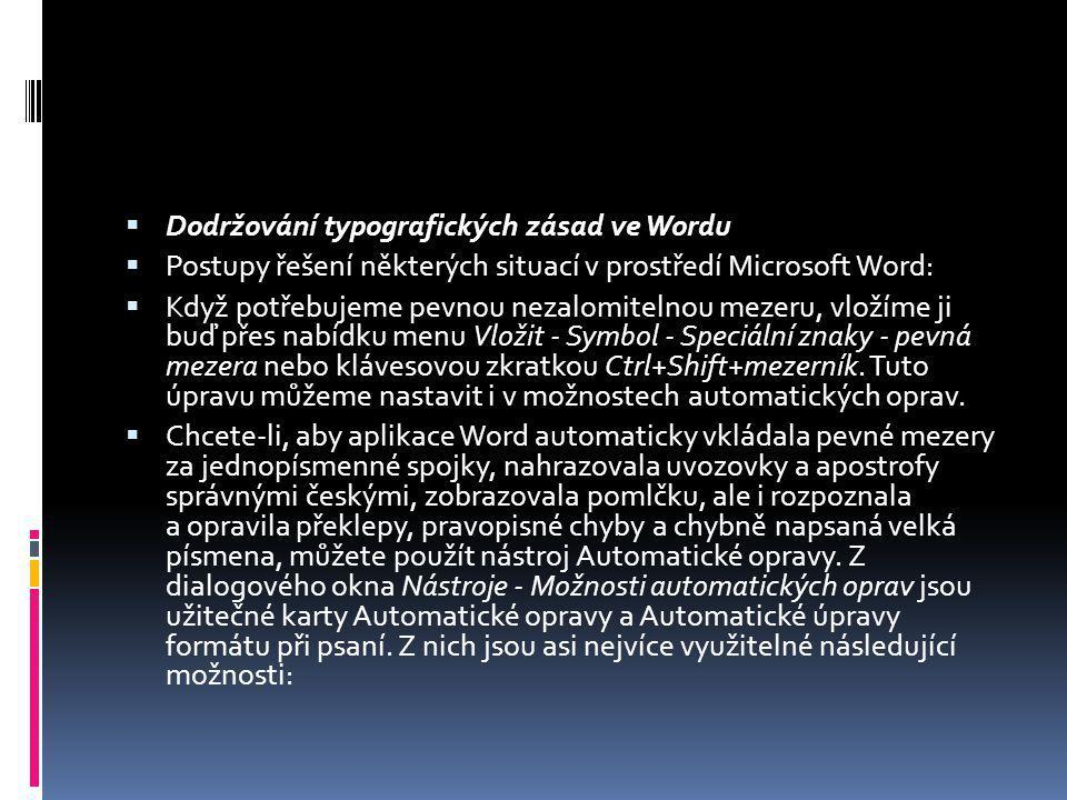 Dodržování typografických zásad ve Wordu