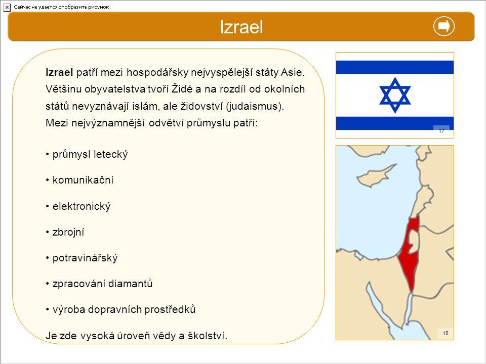 Izrael X. Zajímavosti. Izrael patří mezi hospodářsky nejvyspělejší státy Asie.