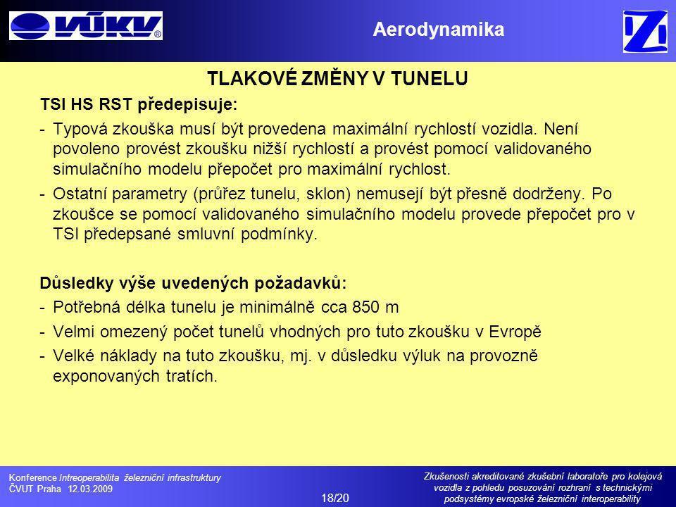 Aerodynamika TLAKOVÉ ZMĚNY V TUNELU
