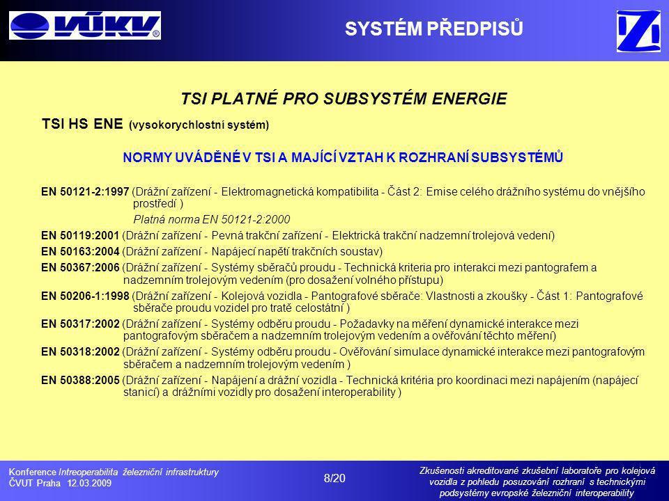 SYSTÉM PŘEDPISŮ TSI PLATNÉ PRO SUBSYSTÉM ENERGIE