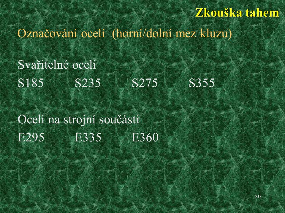 Označování ocelí (horní/dolní mez kluzu)