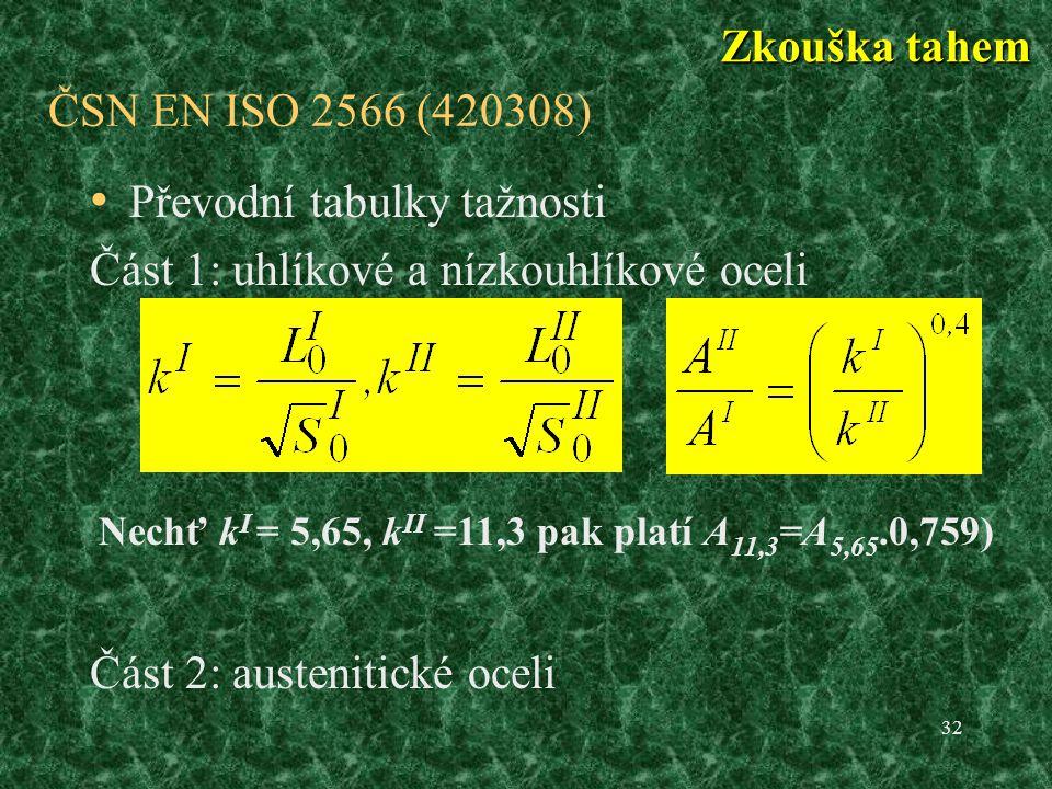 Převodní tabulky tažnosti Část 1: uhlíkové a nízkouhlíkové oceli