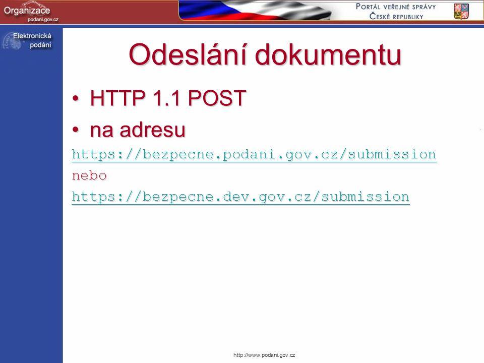Odeslání dokumentu HTTP 1.1 POST na adresu