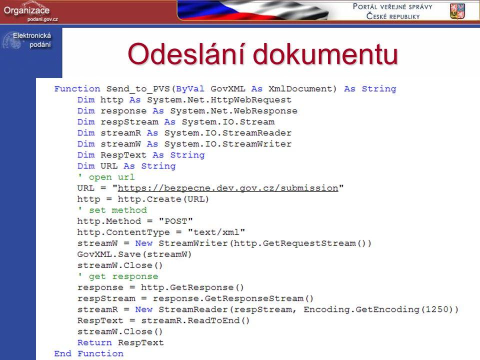 Odeslání dokumentu http://www.podani.gov.cz