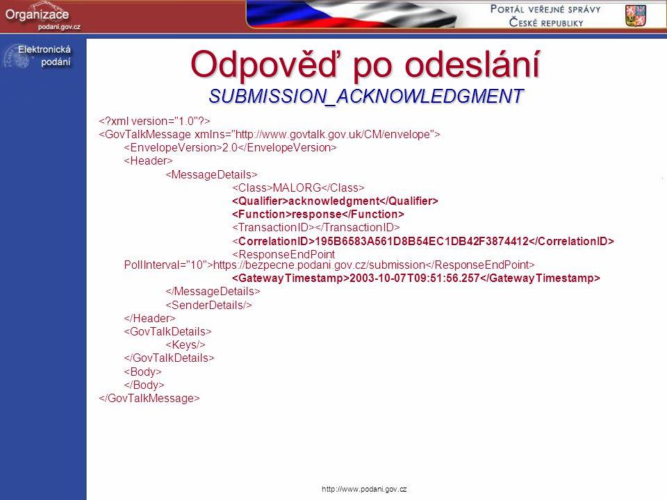 Odpověď po odeslání SUBMISSION_ACKNOWLEDGMENT