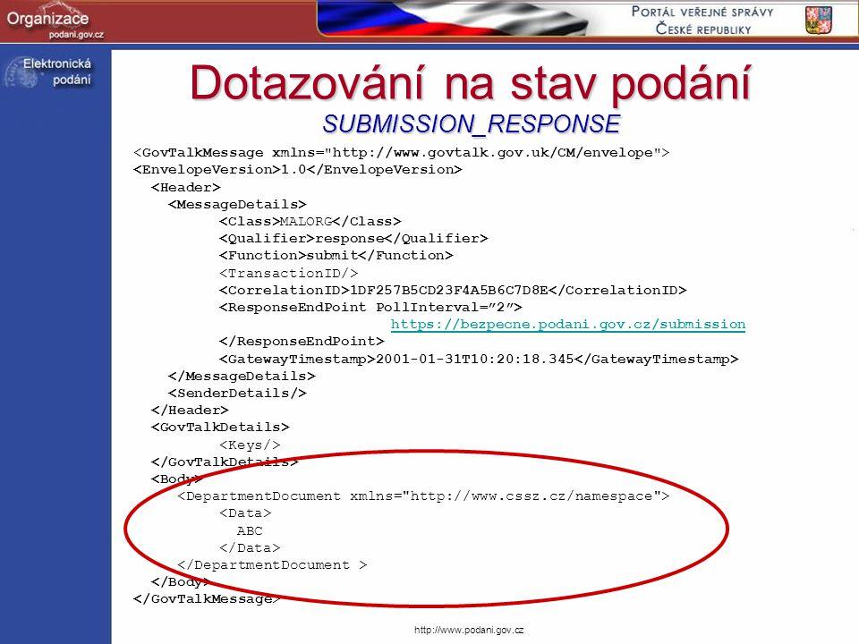 Dotazování na stav podání SUBMISSION_RESPONSE
