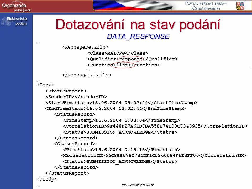 Dotazování na stav podání DATA_RESPONSE