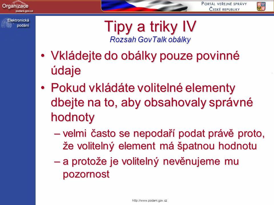 Tipy a triky IV Rozsah GovTalk obálky