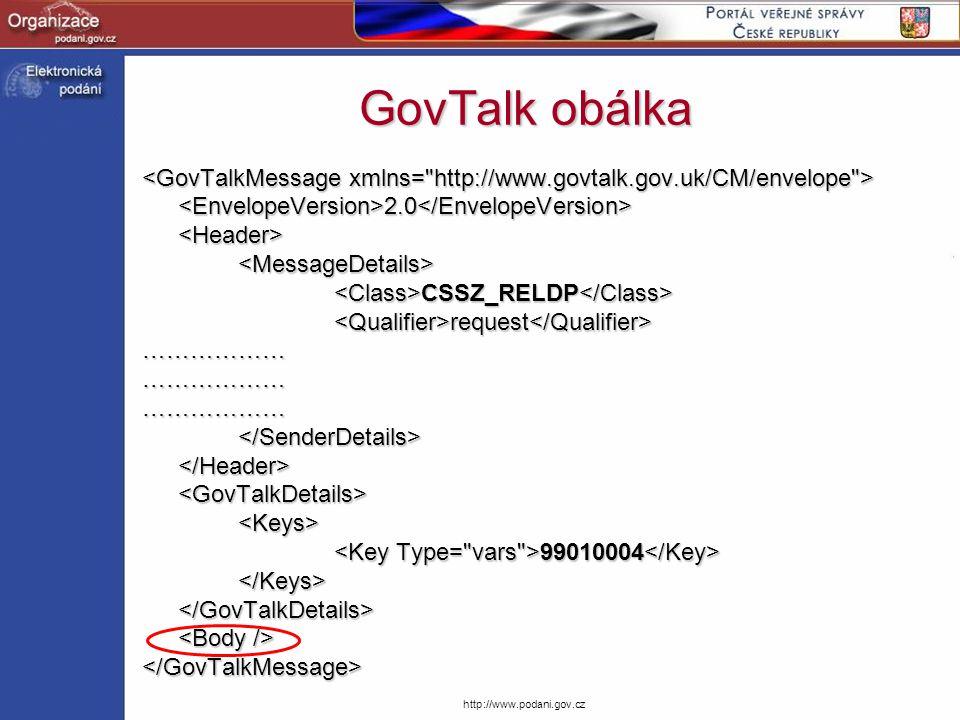 GovTalk obálka <GovTalkMessage xmlns= http://www.govtalk.gov.uk/CM/envelope > <EnvelopeVersion>2.0</EnvelopeVersion>