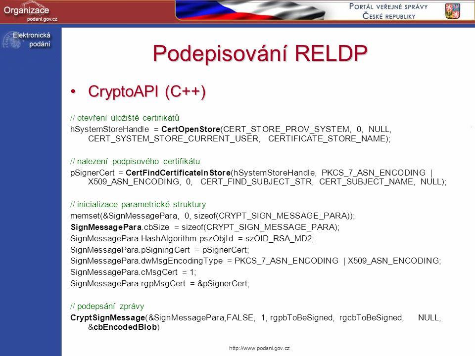 Podepisování RELDP CryptoAPI (C++) // otevření úložiště certifikátů