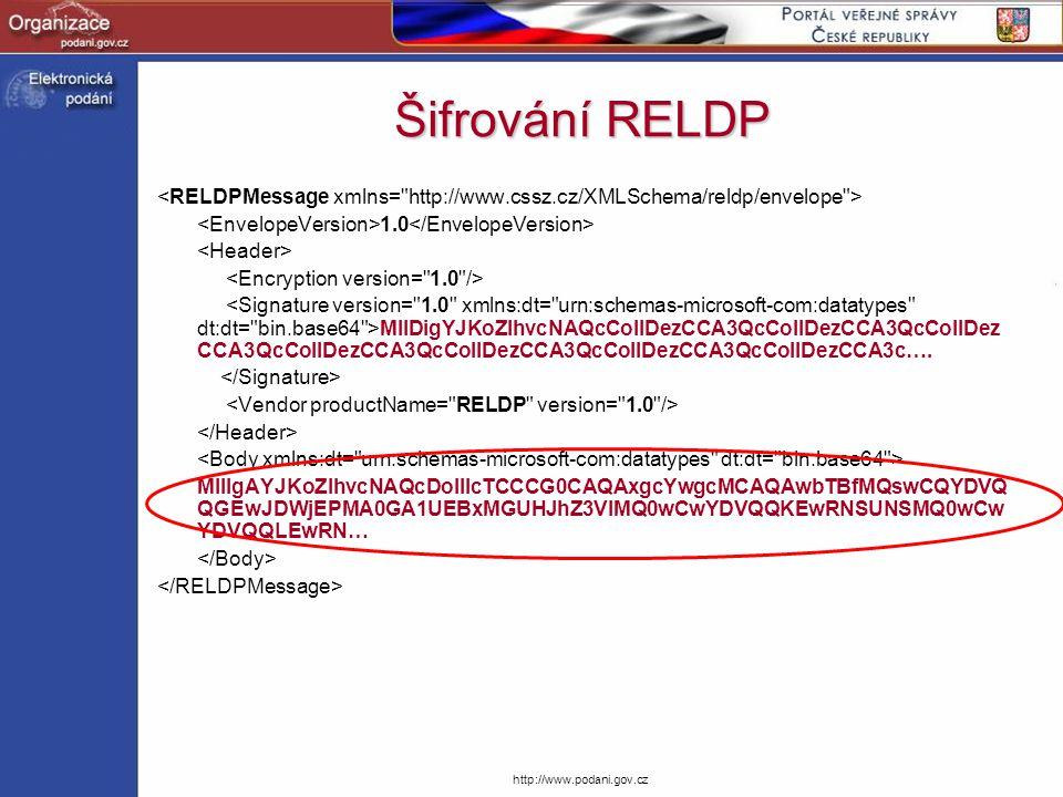 Šifrování RELDP <RELDPMessage xmlns= http://www.cssz.cz/XMLSchema/reldp/envelope > <EnvelopeVersion>1.0</EnvelopeVersion>