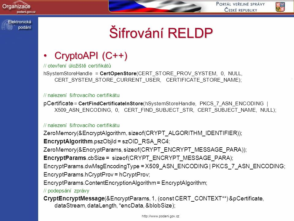 Šifrování RELDP CryptoAPI (C++)