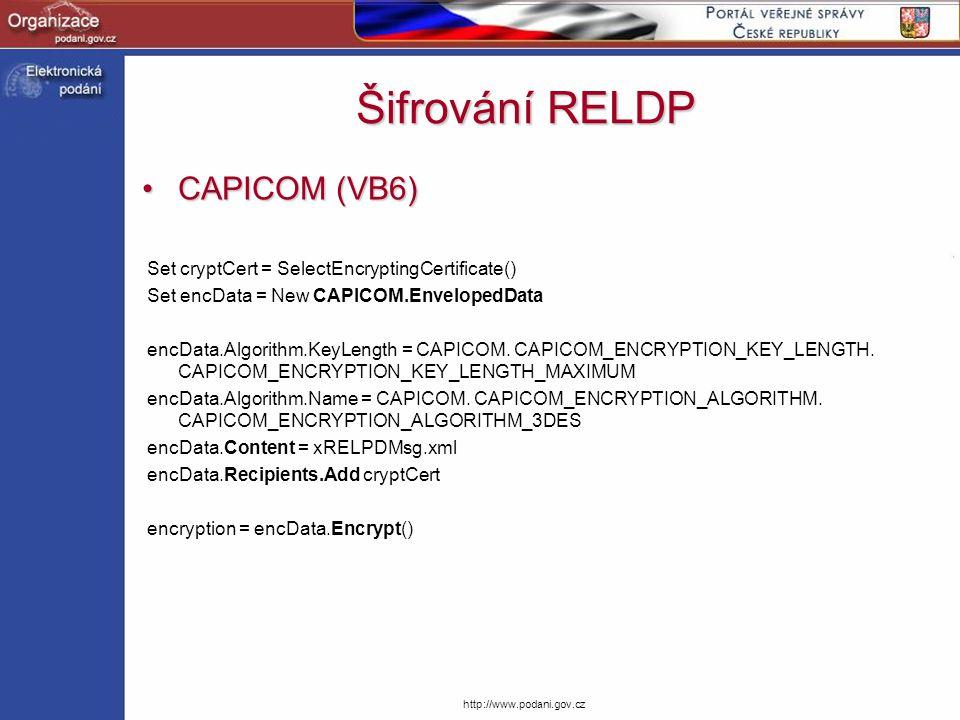 Šifrování RELDP CAPICOM (VB6)