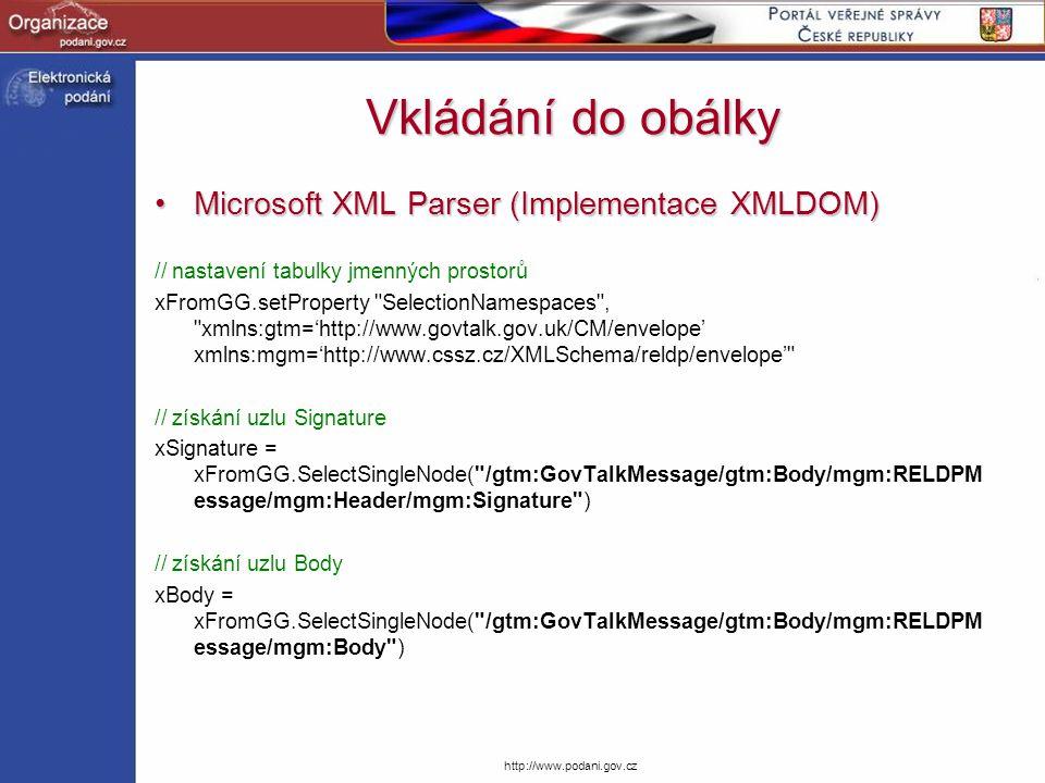 Vkládání do obálky Microsoft XML Parser (Implementace XMLDOM)