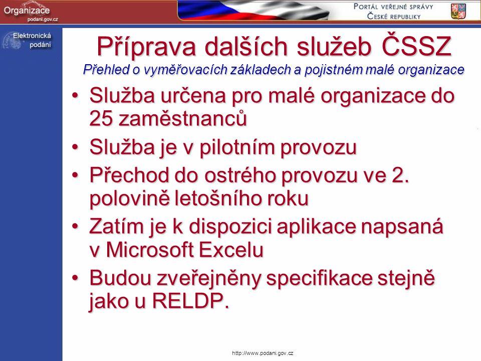Příprava dalších služeb ČSSZ Přehled o vyměřovacích základech a pojistném malé organizace