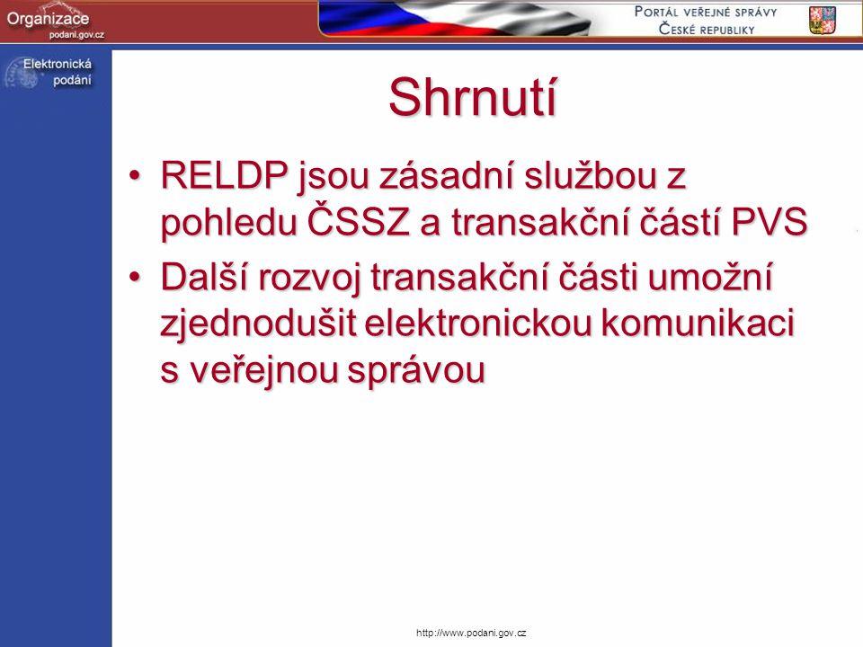 Shrnutí RELDP jsou zásadní službou z pohledu ČSSZ a transakční částí PVS.