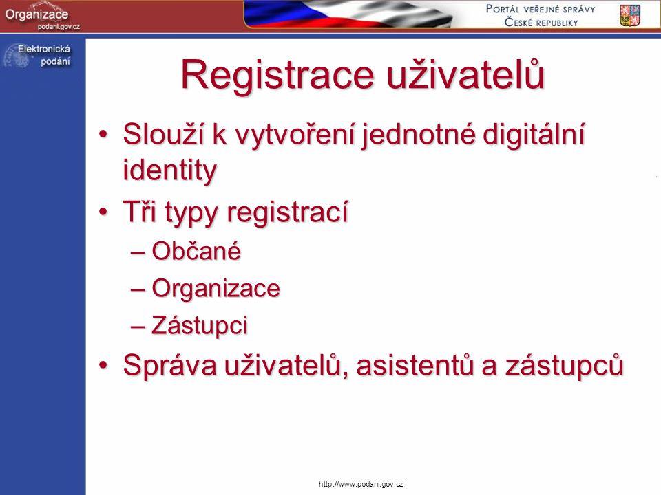 Registrace uživatelů Slouží k vytvoření jednotné digitální identity