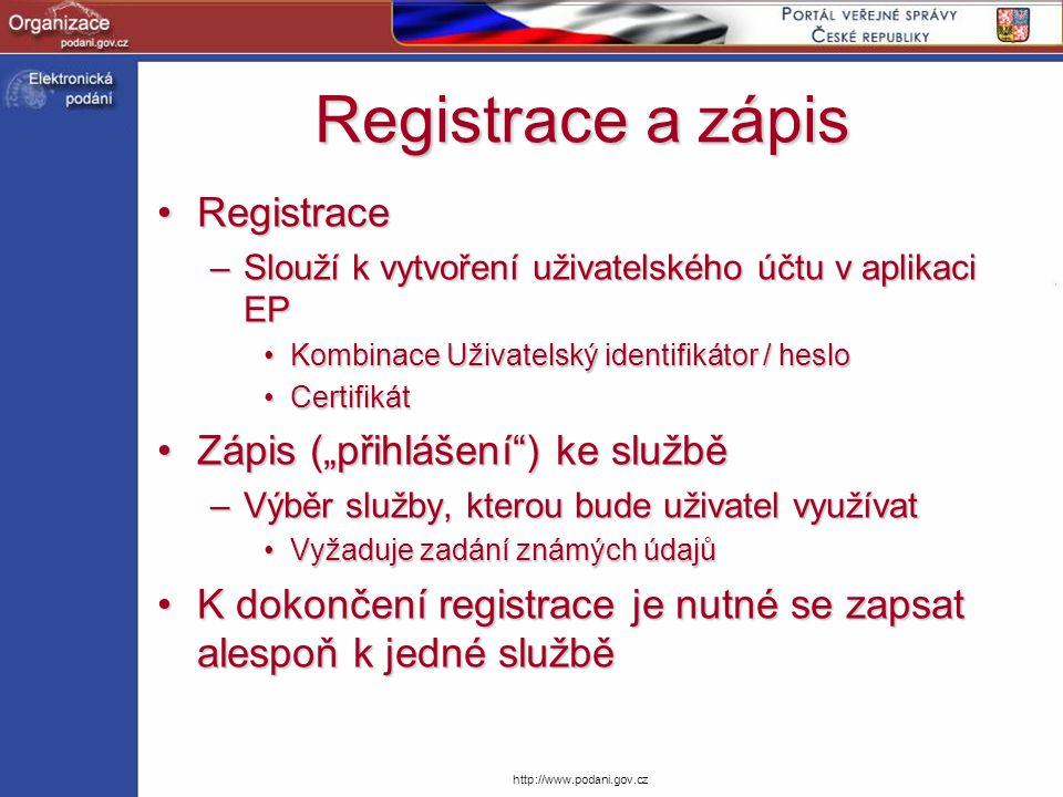 """Registrace a zápis Registrace Zápis (""""přihlášení ) ke službě"""