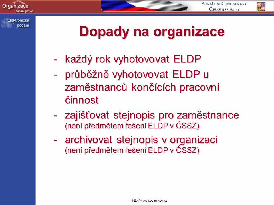 Dopady na organizace každý rok vyhotovovat ELDP