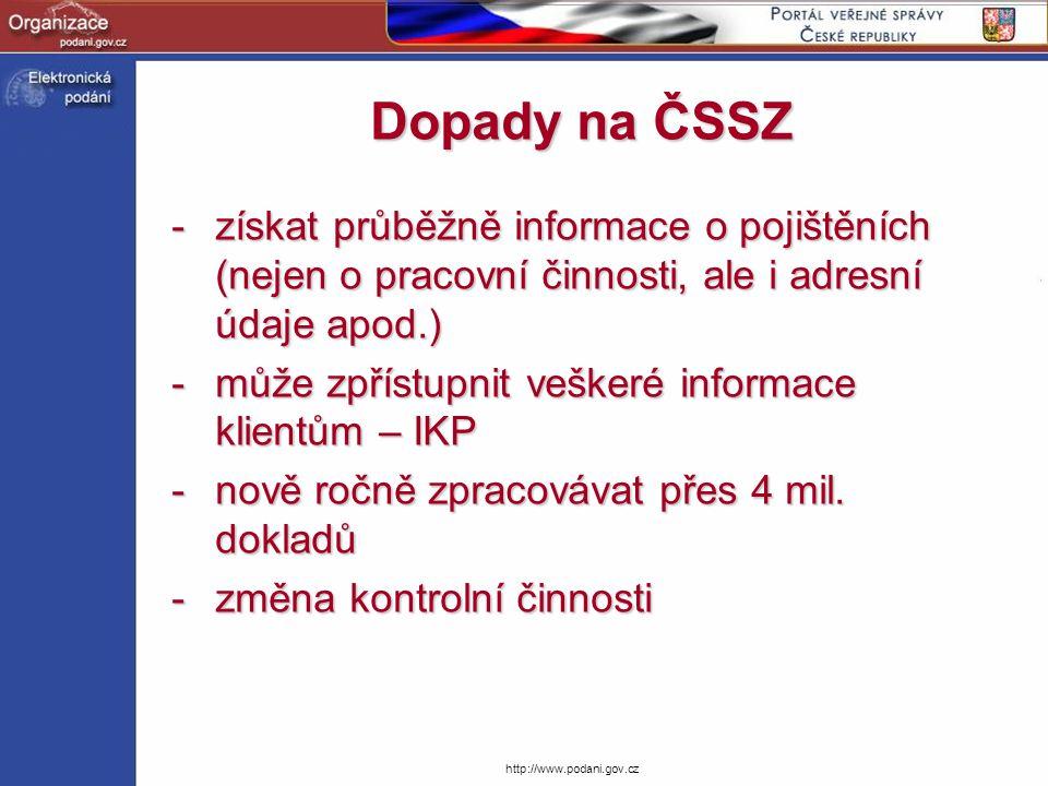 Dopady na ČSSZ získat průběžně informace o pojištěních (nejen o pracovní činnosti, ale i adresní údaje apod.)
