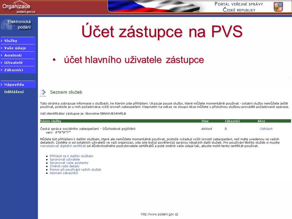 Účet zástupce na PVS účet hlavního uživatele zástupce
