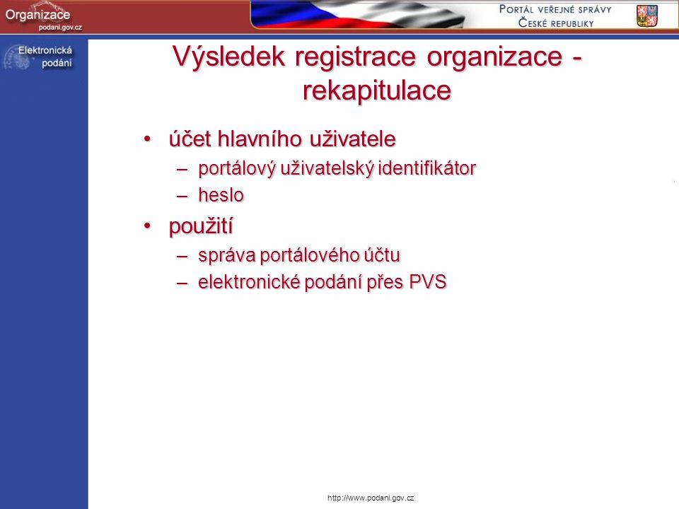 Výsledek registrace organizace - rekapitulace