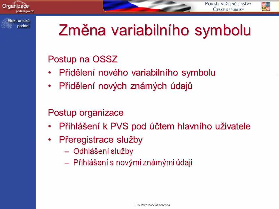 Změna variabilního symbolu